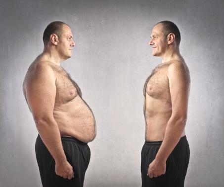 uomo obeso motivato