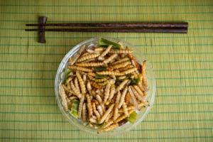Bruchi del bamboo (Crambidi) fritti - snack tipico thailandese