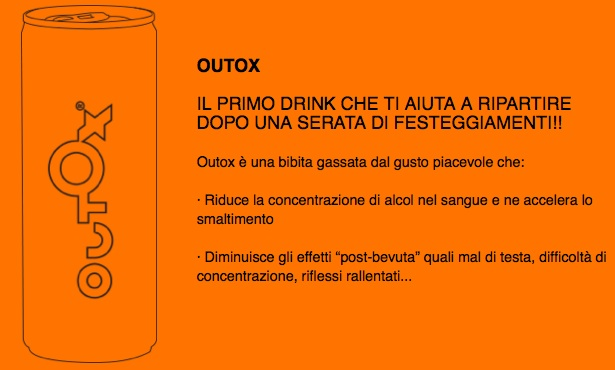 outox energy drink alcol post sbronza