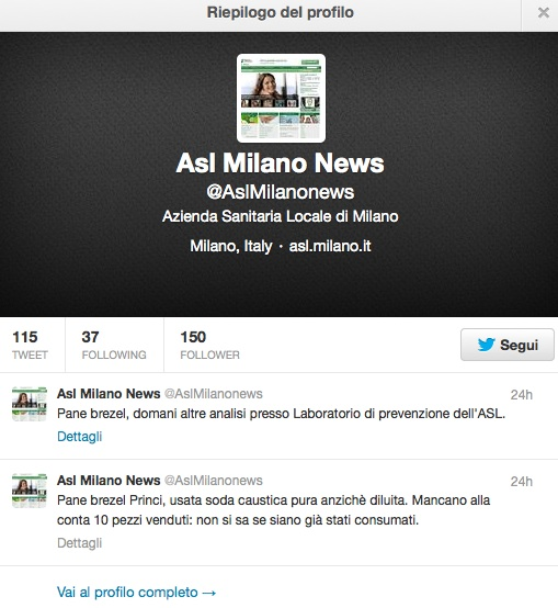 PANE TOSSICO ASL MILANO