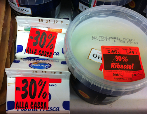 Prodotti in scadenza ribasso offerta mozzarella