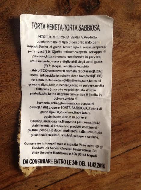 etichetta torta frecciarossa  Trenitalia