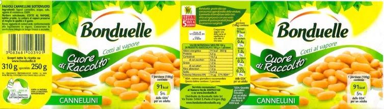bonduelle fagioli verdure etichette