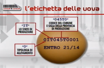 etichette degli alimenti uovo CeC