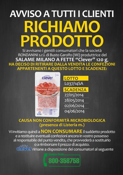 Ritiro salame Clever listeria 4139915