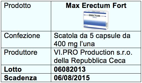 Max Erectum Forte tabella allerta