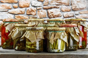 Jars with vegetables colorful