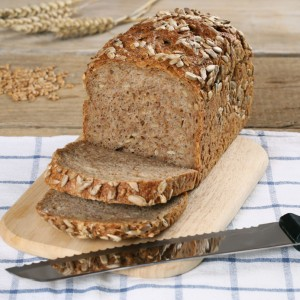 Whole wheat bread on a wooden board