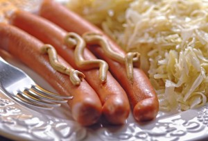 German wurstel saussages with crauts