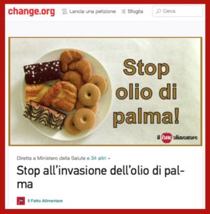 stop olio di palma petizione schermata