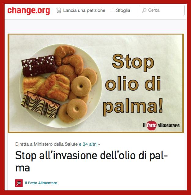 stop olio  palma 67 mila firme
