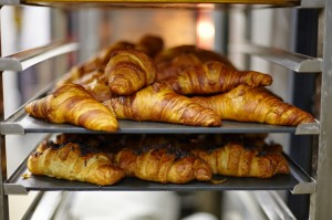 Close up of chocolate croissants on bakery