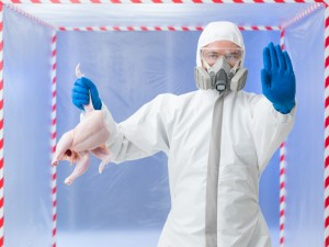 Biohazard technician warning of confirmed bird flu