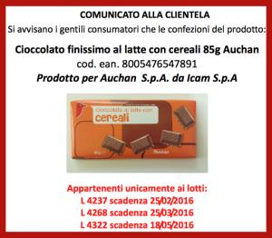 cioccolato auchan ritiro allerta