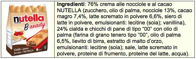 nutella bready b-ready ingredienti tabella