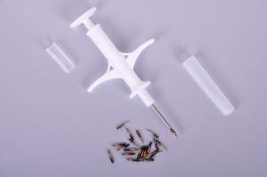 Syringe and animal id microchip