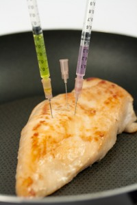 Turkey breast with syringes