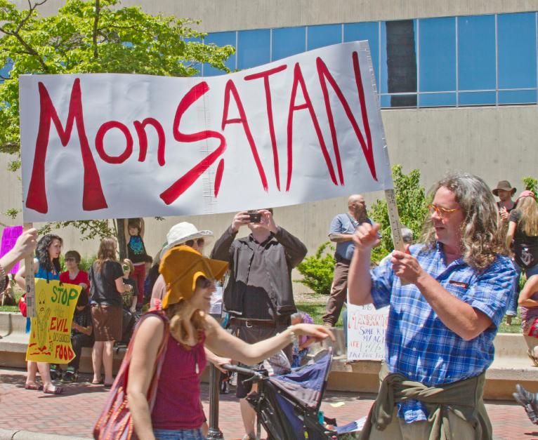 Monsanto MonSATAN Sign