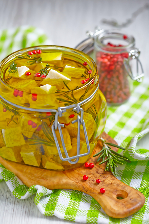 Marinated cheese in olive oil