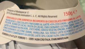 ingredienti etichetta kinder ferrero pasqua