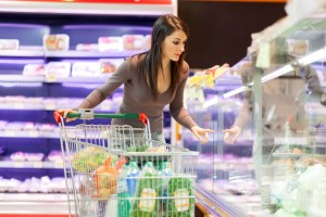 Attractive woman shopping in a supermarket