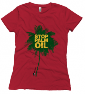 maglietta rossa stop palm oil