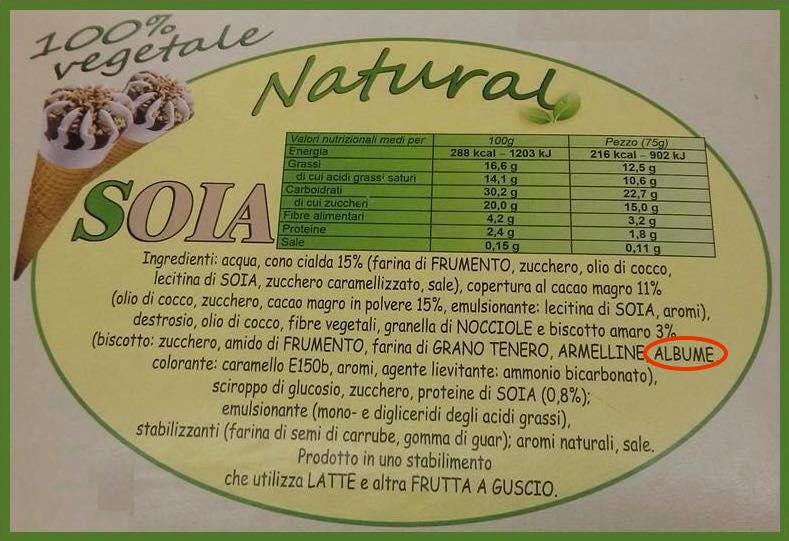gelato vegetale cornetto albume