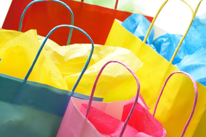A closeup shot of colorful shopping bags