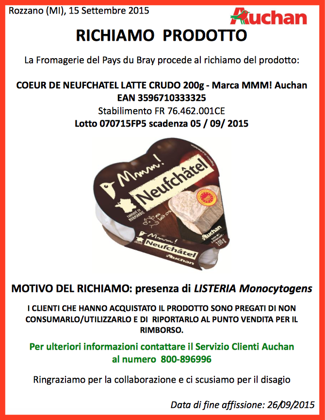 COEUR DE NEUFCHATEL auchan ritiro formaggio