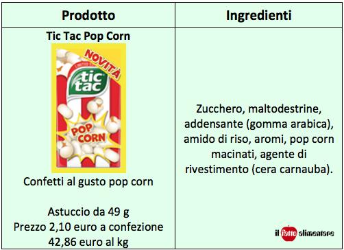 tic tac pop corn tabella