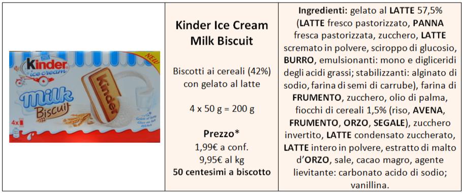 milk biscuit kinder ice cream