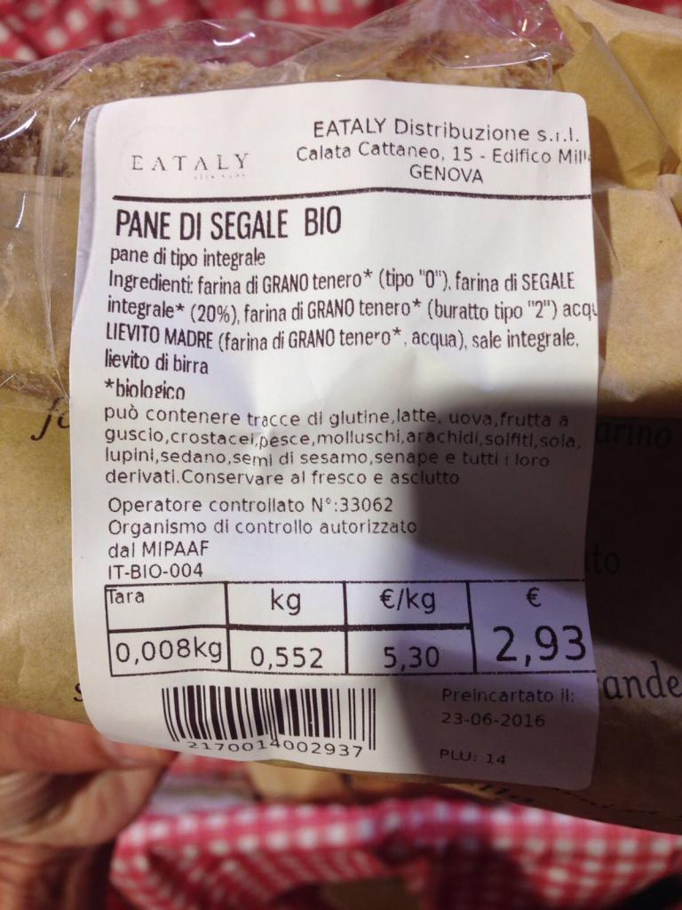 pane di segale bio eataly