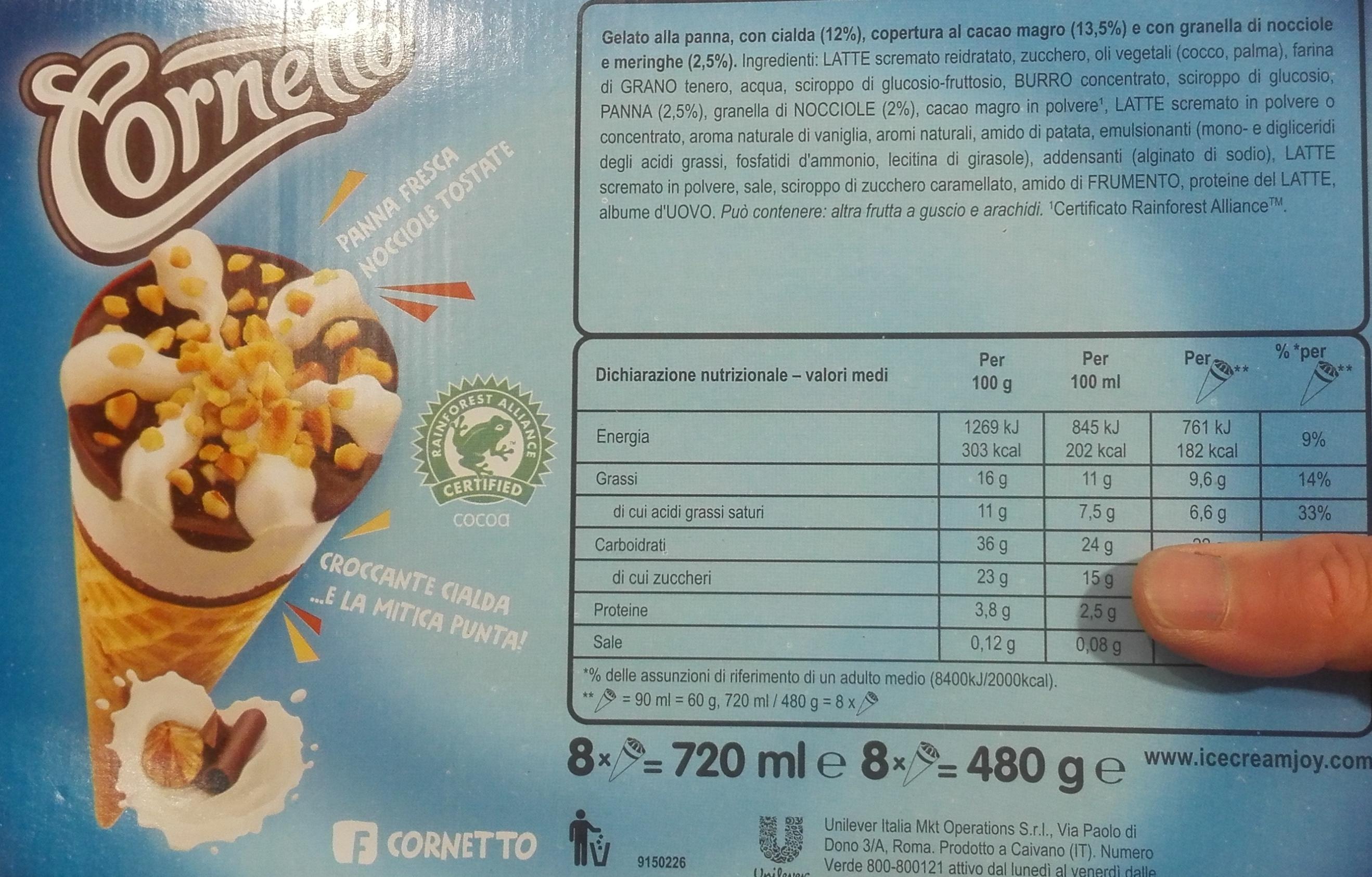 Cornetto Algida etichetta
