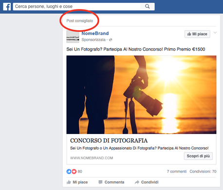 facebook pubblicità