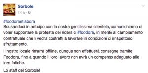 Sorbole Torino comunicato foodora