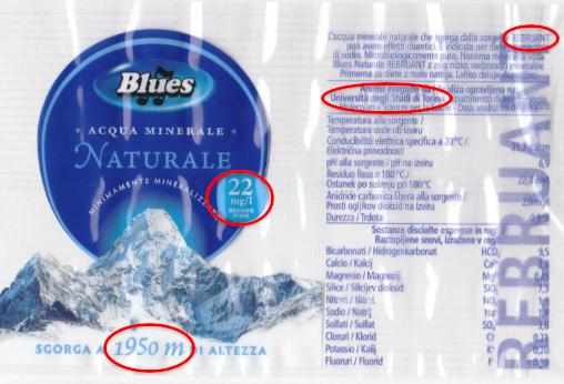 etichetta blues minimamente mineralizzata eurospin