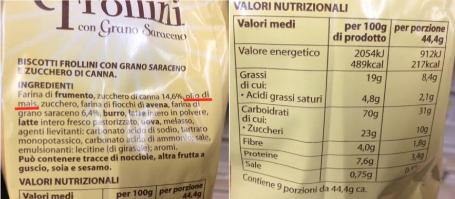 Conad frollini grano saraceno etichetta