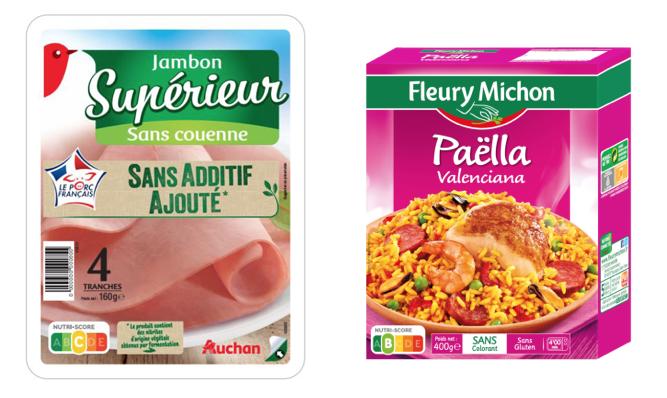 Nutri-score Auchan Fleury Michon prosciutto paella etichette a semaforo
