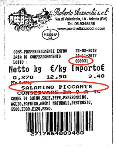 etichetta salamino piccante