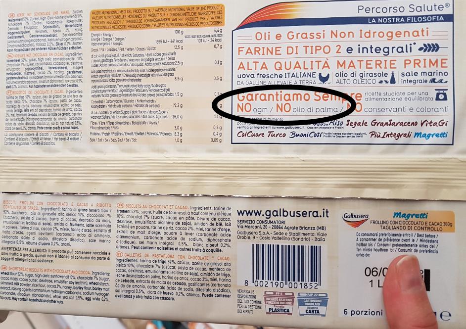 magretti galbusera 2018 Senza OGM