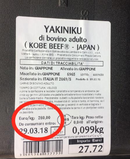 Manzo kobe prezzo