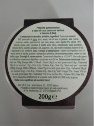 cous cous aromatico carrefour veg etichetta