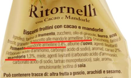 ingredienti ritornelli mandorle